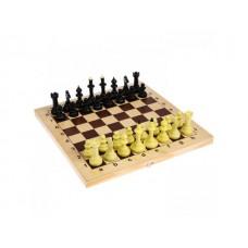 Шахматы обиходные (пластик) с деревянной шахматной доской маленькие