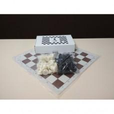 Комплект шахматных фигур пластмассовых с утяжелителем ручной работы и виниловой доски 51 Х 51 см